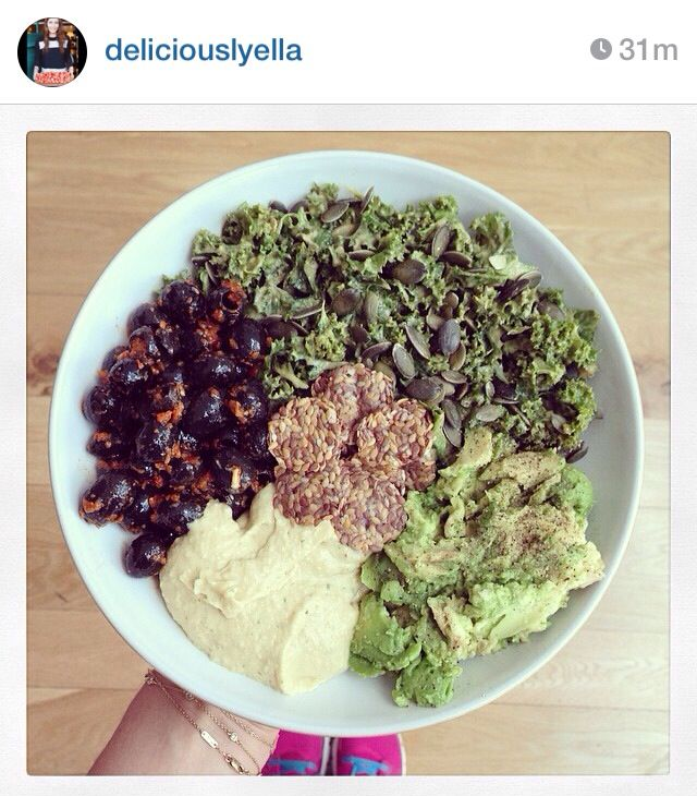 Olives, hummus, mashed avocado with lime, kale salad with pumpkin ...