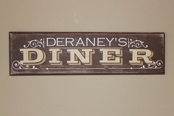 Kitchen Name Wood Sign With Decal Vinyl Lettering Wall Words Home