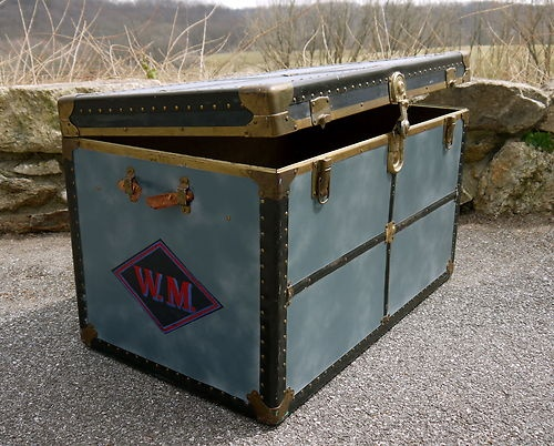 Extra Large Steamer Trunk Black Gray Gold Coffee Table Media Stand