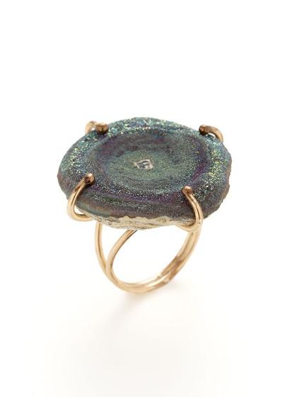 Alanna Bess Jewelry   Gold & Rainbow Druzy Ring