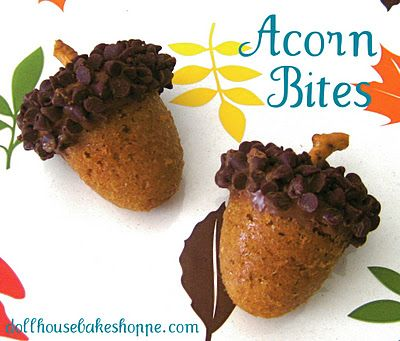 Acorn bites ~ spice cake baked in brownie pop mold with chocolate chips & pretzels