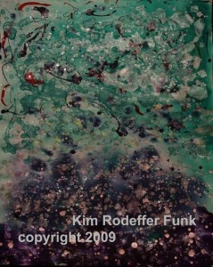 Dancing. I completely lost myself in the creation of this piece and found it became a true dance in learning to reflect the possiblities of life. Acrylic 20 x 16 inches 300lb (640gsm) Arches Watercolor Paper. Artist Kim Rodeffer Funk