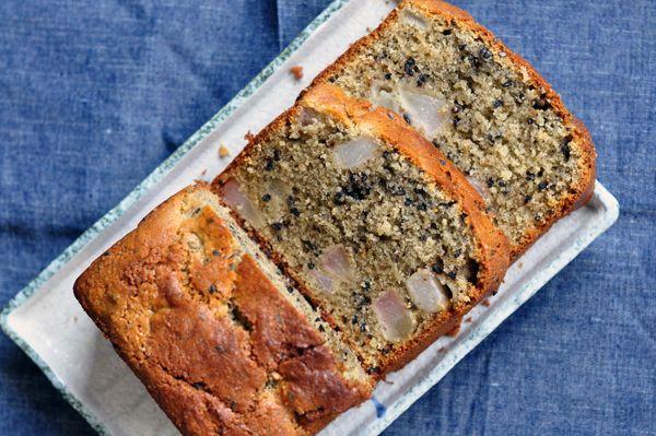 Black Sesame & Black Bean cake with Pear | Cakes:D | Pinterest