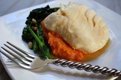 Olive Oil Poached Cod, Mashed Sweet Potatoes and Sauteed Broccoli Rabe ...