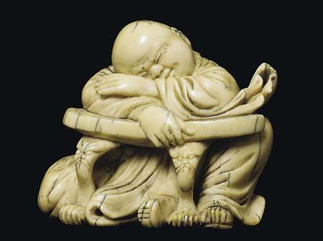 An Ivory Carving of a Sleeping Lohan Qing Dynasty