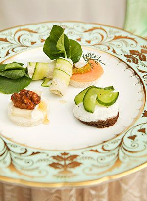 Tea: Cucumber Wraps with Cress Smoked Salmon with Wasabi Caviar ...