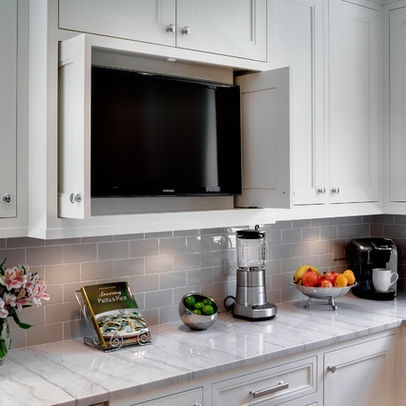 Cabinet that hides appliances favorite kitchens pinterest for Tv in the kitchen ideas