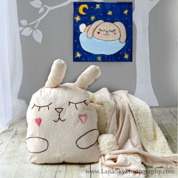 Baby/Toddler Blanket and Pillow Set. Stuffed animal pillow toy. Bunny?
