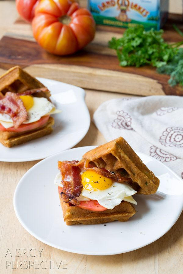 Waffle Sandwich made with Crispy Cornmeal Waffles, Bacon, Eggs, Cheese ...