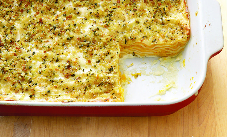 Butternut Squash Lasagne with Goat Cheese, Sage, and Breadcrumbs