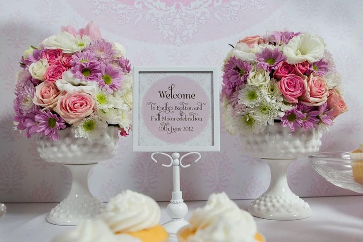 Bautismo Decoracion Vintage ~ love the welcome sign and flowers  Baptism  Pinterest