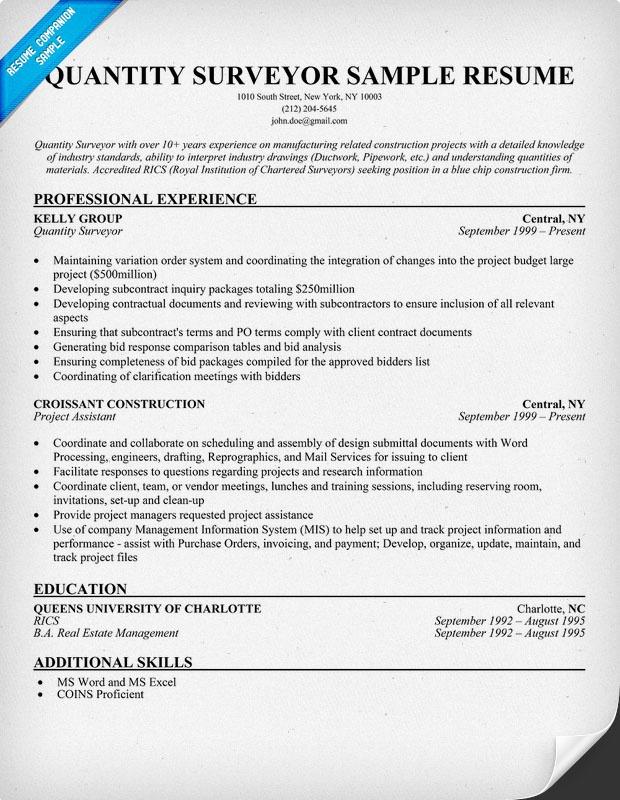 Best Resume Format For Quantity Surveyor