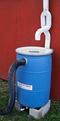 Rain barrel with In Line Downspout Diverter