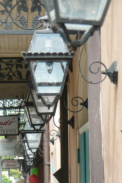 antique gas lanterns on bienville street in the new orleans french. Black Bedroom Furniture Sets. Home Design Ideas