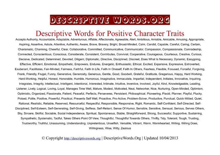list of descriptive words for essay writing