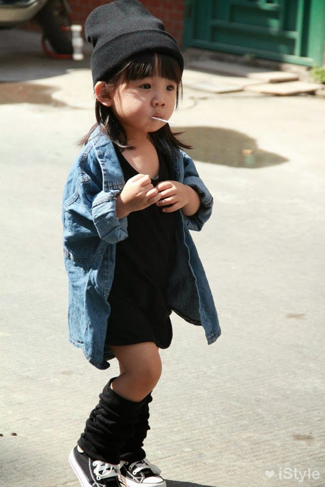 now thats style. adorable. want those leg warmers and lollipop