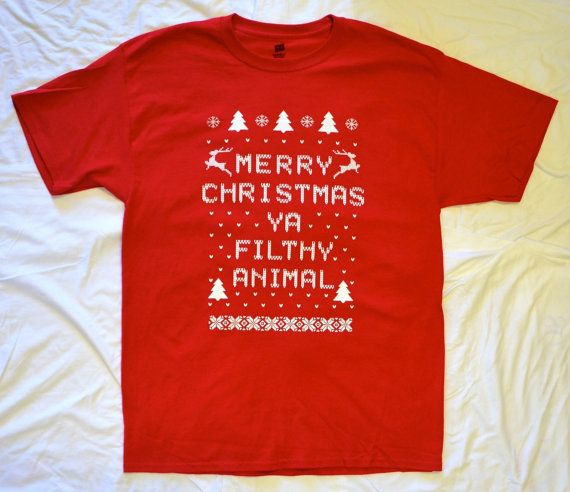 Mens t shirt merry christmas ya filthy animal red x 4x