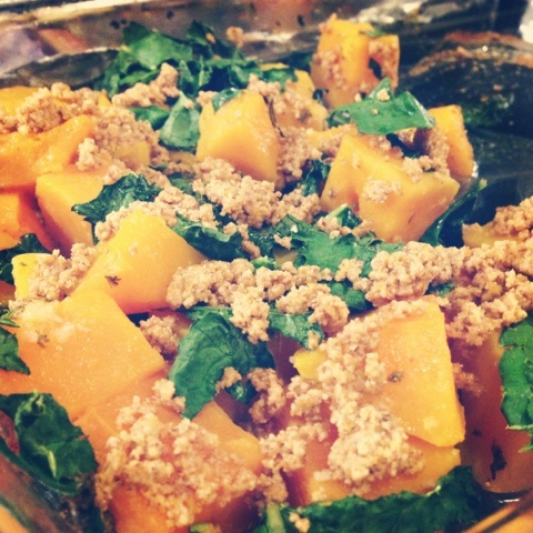 """Roasted Butternut Squash with Kale and Almond Pecan """"Parmesan"""" // O..."""