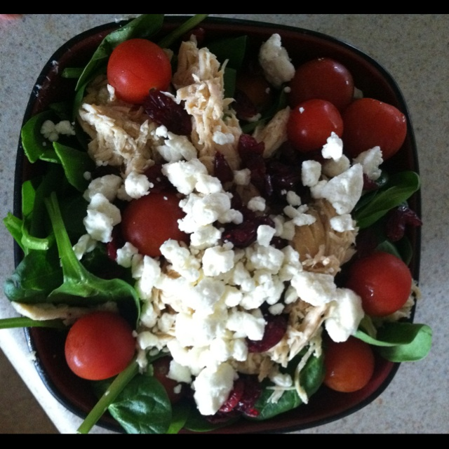 Spinach Salad with shredded chicken, feta, cranberries, tomato, and ...