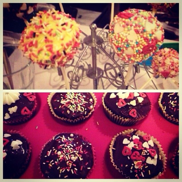 Cake pops & chocolate cupcakes with chocolate frosting for Jasmine's ...