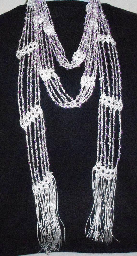 Free Crochet Scarf Patterns With Beads : Crochet Beaded White Scarf Purple Beads Crochet Pinterest
