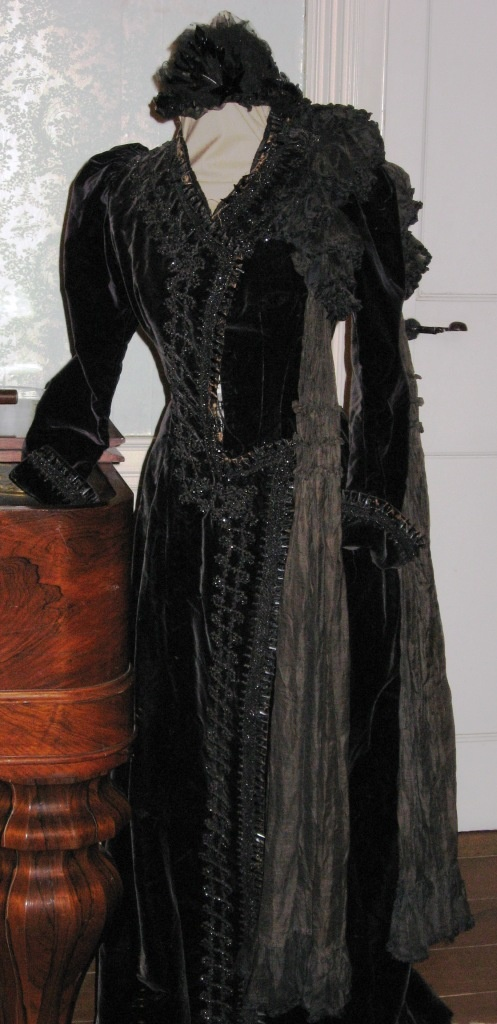 Victorian Mourning dress & bonnet with Jet trim.