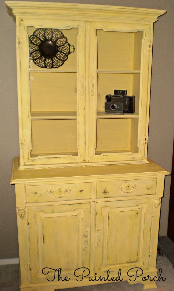 Vintage Wood Painted Hutch China Cabinet Butter Yellow