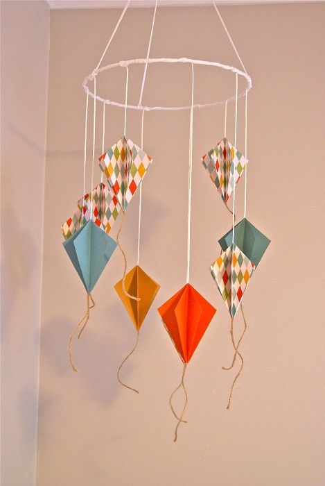 cute paper kite mobile paper crafts for children pinterest