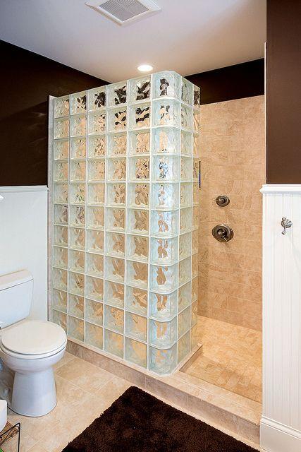Glass Block Shower Bathroom Ideas Pinterest