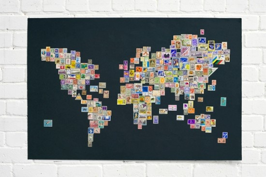 World map with each country represented by its stamp