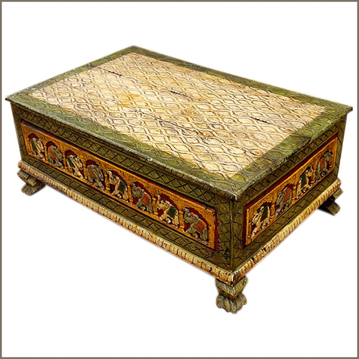 Elephant hand carved coffee table chest decor i dig pinterest Hand carved coffee table