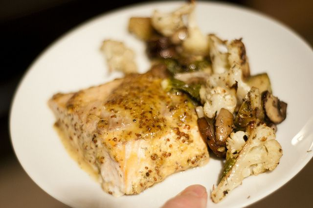 maple-mustard salmon with roasted cauliflower, brussels sprouts and ...