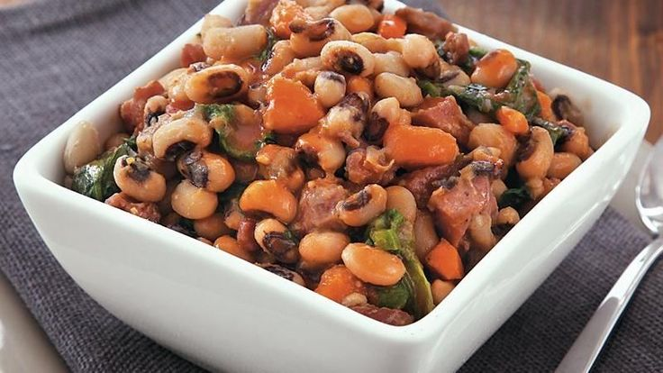 ... slow cooked side dish packed with black eyed peas, greens, and ham