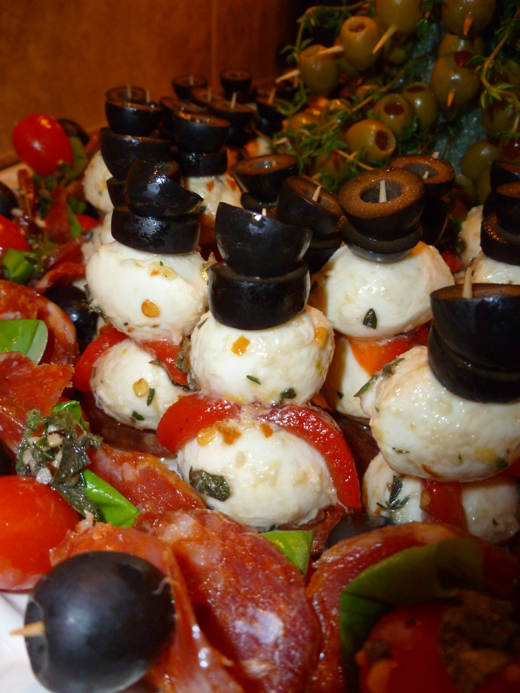 New Years Eve 2011 Appetizer - Marinated ciliegine snowmen with black ...