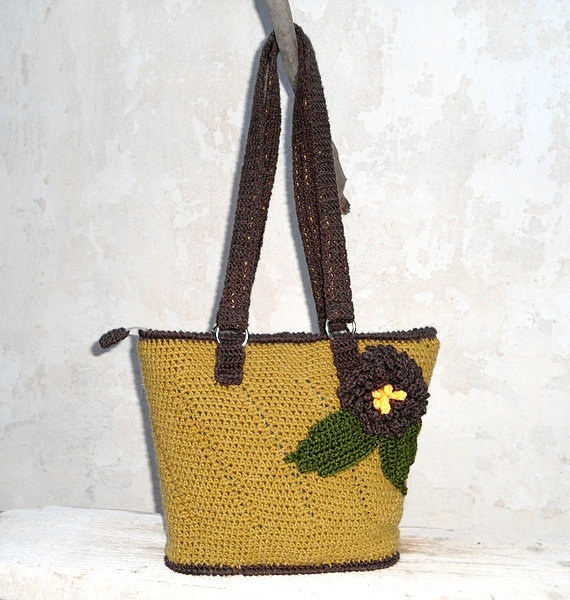 Crochet Bag Strap : ... Bag with Grey straps, Crochet Bag, HandMade Bag, Book Bag, City Bag