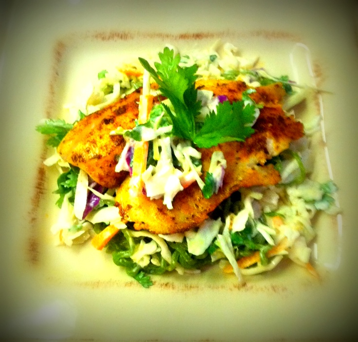 Blackened Tilapia with honey-lime coleslaw,cilantro, & F55 Noodles www ...