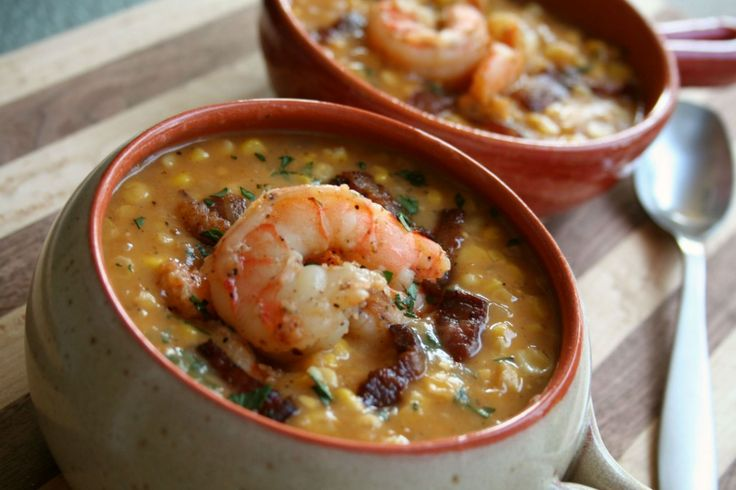 Sweet Corn, Peppered Bacon and Shrimp Chowder - Smoky, spicy, sweet ...