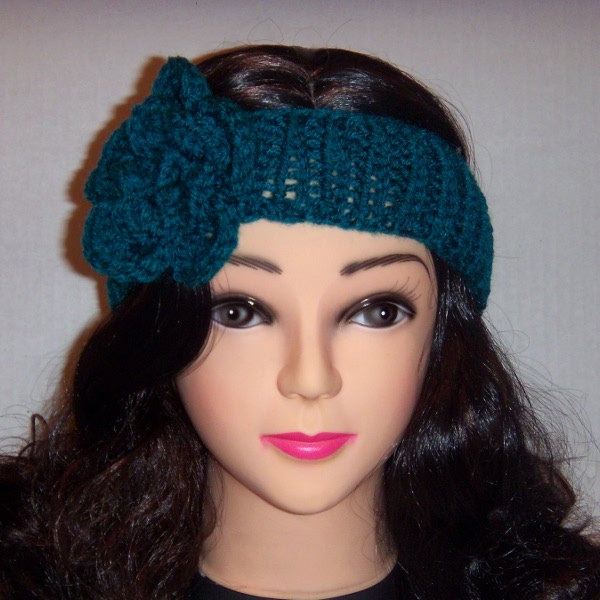 Knitted headband with crochet flower in teal 12 50 via etsy