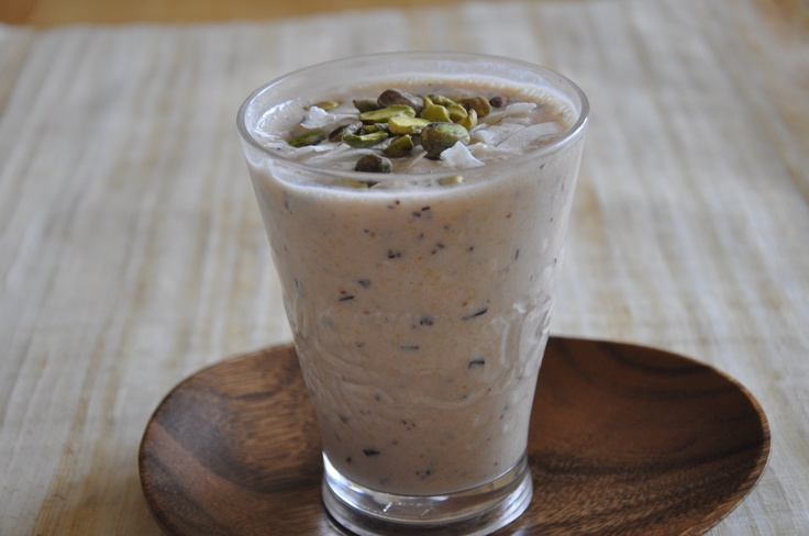 Papaya smoothie - papaya & non-dairy yogurt blended - topped with ...