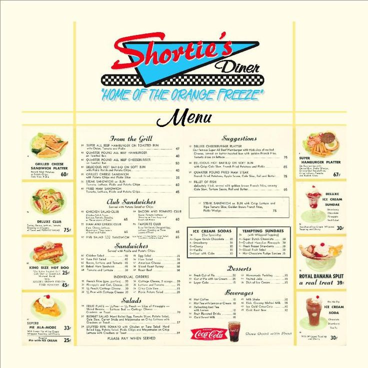 SHORTIES MENU BOARD Kids Party Retro Diner Pinterest