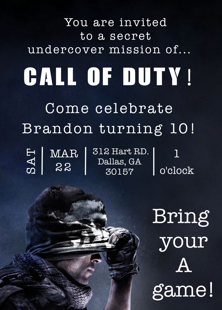 The Invitation was done for a Call of Duty Birthday Party!