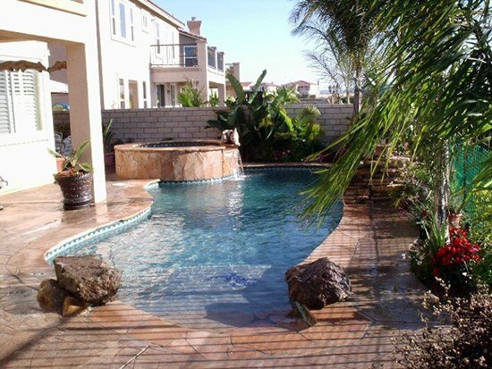 Small pool beach entry perfect outdoor pinterest for Pool design with beach entry