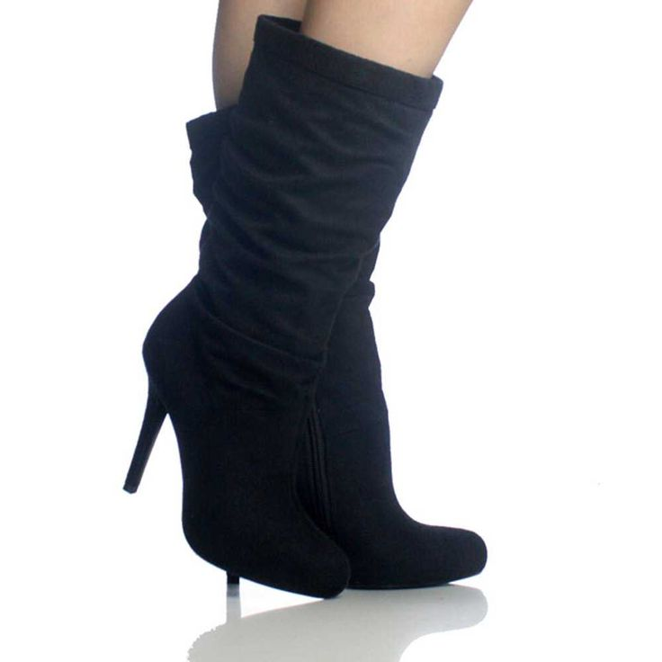 black suede stretch slouch platform high heel womens mid