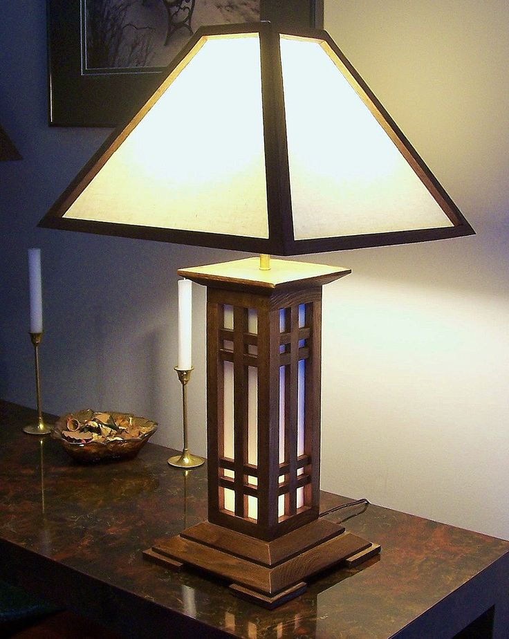 arts and crafts table lamp with narrow lighted base. Black Bedroom Furniture Sets. Home Design Ideas