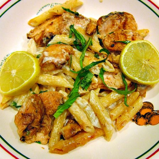 Grilled Chicken with Lemon Basil Pasta | PheNOMenal Phoods | Pinterest