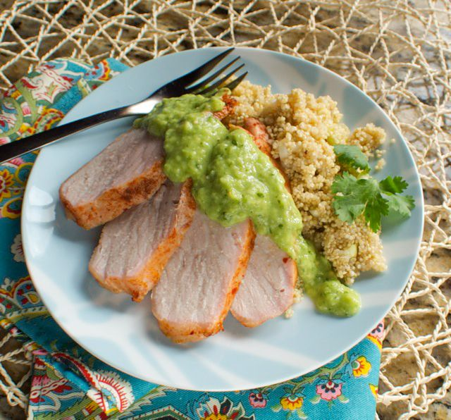 Spice rubbed pork tenderloin with salsa verde