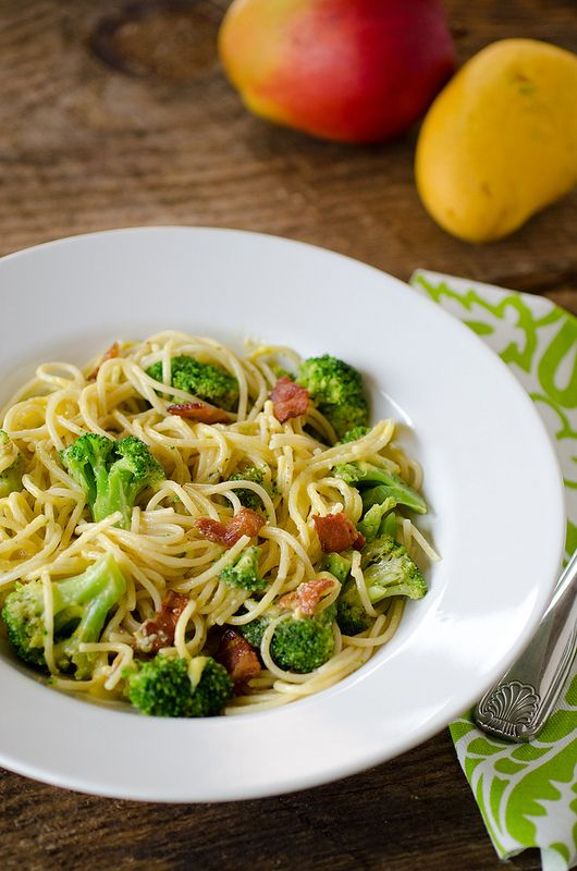 Spaghetti with Bacon, Broccoli and Brown Butter Mango Sauce | Recipe