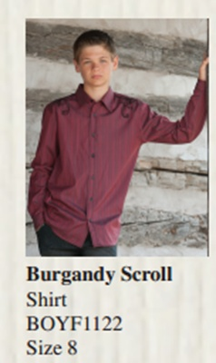 Burgandy Scroll shirt from Vintage Couture #ScoreYourBoard