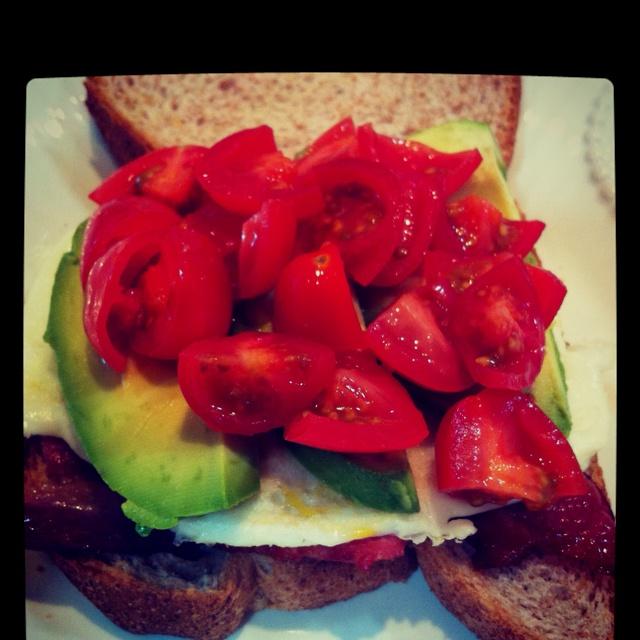 Cindy Harless...Egg, bacon, avocado & tomato on whole grain bread ...
