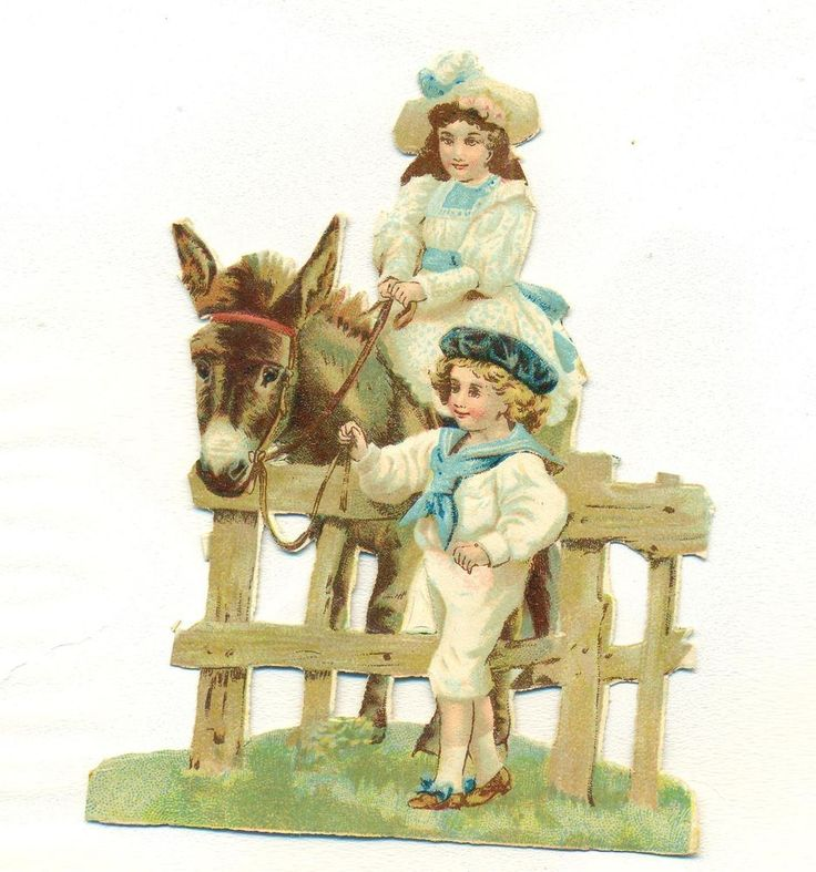 victorian   scrap children with donkey and fence